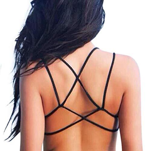 Fletion Frauen Sexy Rückengurt Low Back Wrap-BH Criss Cross Baumwolle Schwimmen Bikini Halter Bra Tank Top Backless Riemchen Leibchen Weste mit Eingebautem Gepolsterter BH (Sexy Mesh-plunge-bh)