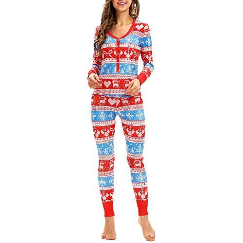 Amphia - Weihnachtsanzug langärmelige Zweiteilige Schlafanzüge mit Knöpfen,2 STÜCK Frauen Schneeflocke Elch Lange Ärmel Weihnachten Pyjamas Set Top Bluse + Pants(Rot,XL)