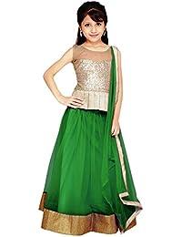 S R Fashion Girls' Soft Net Silk Multi-Coloured Lehenga Choli For Girls 8 to 11 Years(SRF_GB1_65840_Free Size_8 to 11 Years) (Parrot Green)