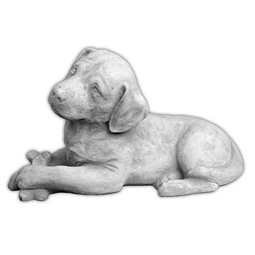 Massive Steinfigur süsser Hund Labrador aus Steinguss frostfest Gartendeko Raumdeko