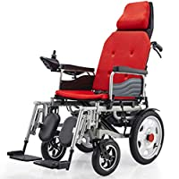 "G&F Folding Travel Electric Powerchair - Lightweight Portable Folding Electric Wheelchair,19"" Seat,Load Capacity 265 Lbs, For Home And Outdoor Use,Red+Leadacidbattery~12A"