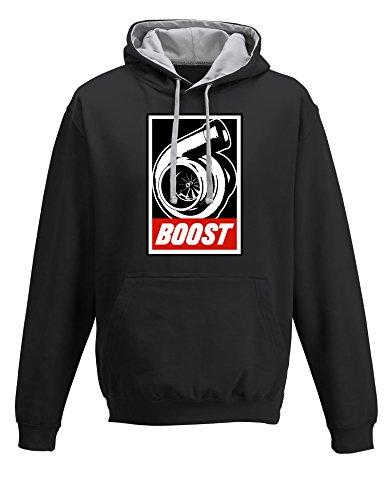 Baddery Petrolhead: Boost - Geschenk für Autoliebhaber - Hoodie für alle Tuning-, Drift-, und Motorsport Fan - Kapuzen-Pullover Herren Sweatshirt - Geschenk Auto-Fahrer - Pulli Auto - Tuning (XXL) Auto Sweatshirt