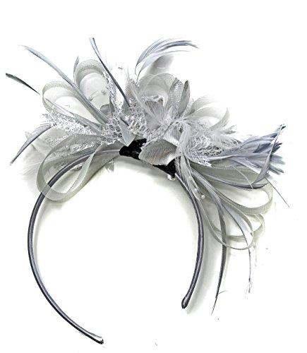 Caprilite Fashion Silber Grau und Silber BURLESQUE FASCINATOR Stirnband Hochzeit KOPFSCHMUCK HAARSCHMUCK