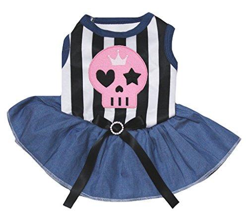 petitebelle Puppy Kleidung Kleid Rosa Skelett schwarz weiß Stripe Top Marineblau Tutu (Tutu Kostüm Skelett)