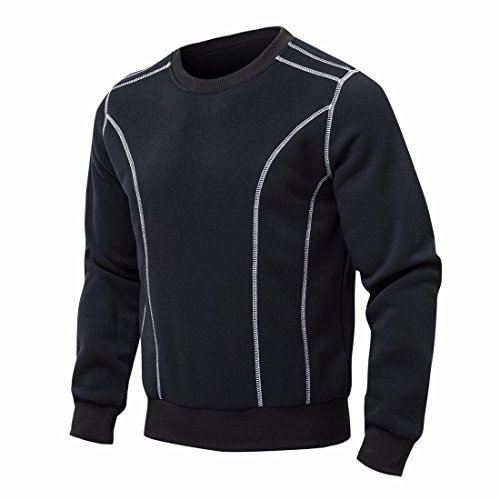 Men's Cotton Casual Black and Grey O-neck Sweatshirts Black