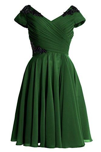 MACloth Elegant Cap Sleeve Short Mother of Bride Dress Cocktail Formal Gown Dark Green