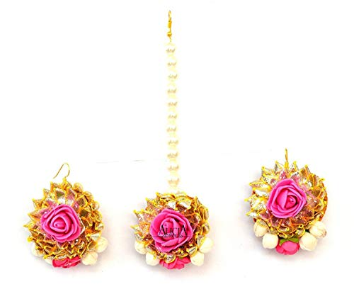 FashionandBeads QUVYARTS Pink Non-precious Metal Gota Patti Earrings with Mang Tikka for Women and Girls