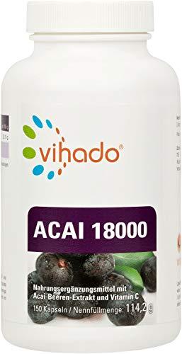 Vihado Acai 18000 MAXIMUM - hochdosierter original Beeren Extrakt, 150 Kapseln, 1er Pack (1 x 109,5 g)