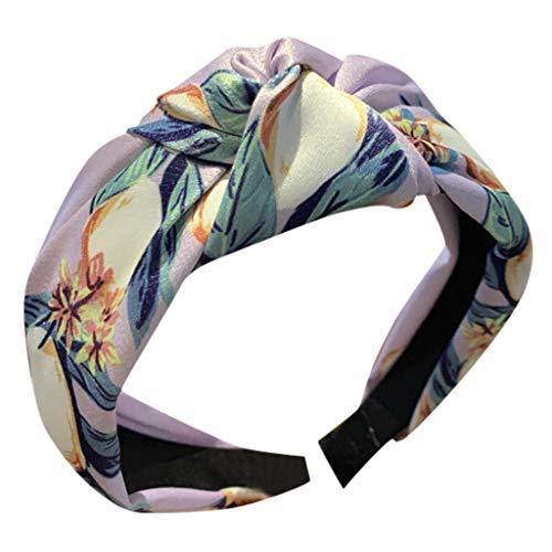 Damen Blumen Stirnbänder, TTWOMEN Headwear Knoten Haarband Wide Brimmed Turban Haar Creative Zubehör (Lila)