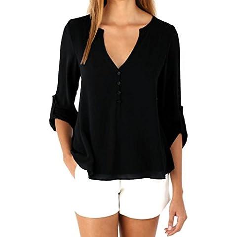 Fortan Gasa de las mujeres suelta manga larga blusa ocasional