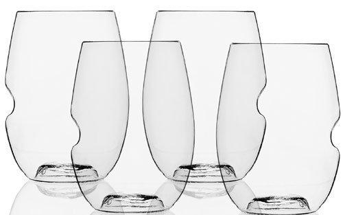 GoVino Plastic Cocktail Glasses 12oz / 340ml - Pack of 4 | Reusable Cocktail Glasses, Plastic Cocktail Glasses, Party Cocktail Glasses