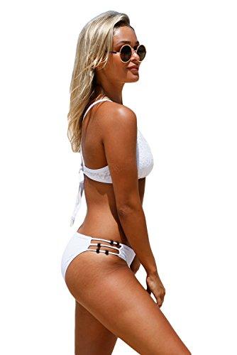 Milakoo Zweiteiliger Spitzenschwimmanzug für Frauen Tankini hoher Ausschnitt Größe S bis XXL Weiß #2