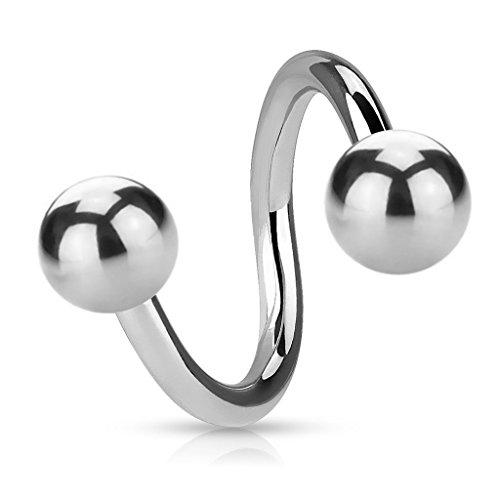 Premium 1,2 mm spirals Piercing - 15 Sizes - Spiral with 2 balls for screws - Piercing Spiral ring in silver surgical steel (Stainless Steel), Size
