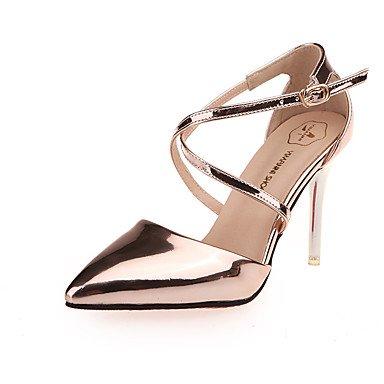 Moda Donna Sandali Sexy donna tacchi Primavera / Estate / Autunno tacchi / cinturino alla caviglia / Punta partito in pelle e la sera abito / Stiletto Silver