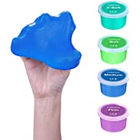 Healalifty Therapy Putty – Juego de 4 herramientas terapéuticas de juguete terapéutico para dedo, mano y fuerza de agarre, terapia de alivio del estrés – suave, mediano, firme