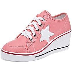 OCHENTA Mujer Lona de la Manera de la Cuna de Tacon Cerrado Deporte Zapatos Cordones #3 Rosa Asia 43 - EU 41.5