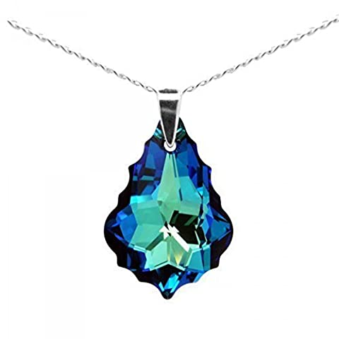 Sterling Silver Made with Swarovski Crystals Blue Green Teardrop Pendant Necklace for Women