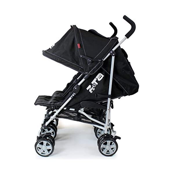 Zeta VOOOM Twin Double Stroller - Black iSafe Suitable From Birth - 3 Years (Max weight 30 KG!) 4 position recline (Suitable from birth) Double Rain-cover (Included!) 5 Point Safety Harness with shoulder Pads (Yes!) Foam Grip Handles (Yes!) Umbrella Folding (Yes!) Safety hinges all round! (Yes!) Carry Handle (Yes!) Folded Size W42 x L96 x H44 Open Size W73 x L63 x H104 3