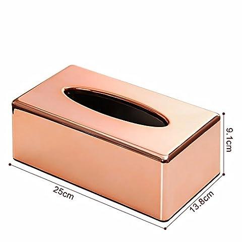 Mdrw-household ABS Métal galvanisé Rose Serviette en Papier Box Salon Maison de cuisine Box Office Paper Box Tissue Boîte de rangement