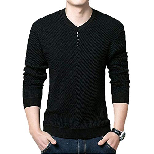 Sweater Men Casual V-Neck Pullover Men Autumn Slim Fit Long Sleeve Shirt Mens Sweaters Knitted Cashmere Wool Pull Black XXXL -