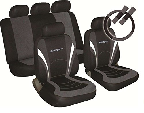 XtremeAuto® 10992 + keyring Sports Style Car Seat Covers Grey And Black Complete With Sticker