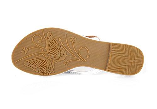 Lukis Flip Flop Damen Zehentrenner Flip Pantoffeln mit Strass Sommer Schuhe Weiß