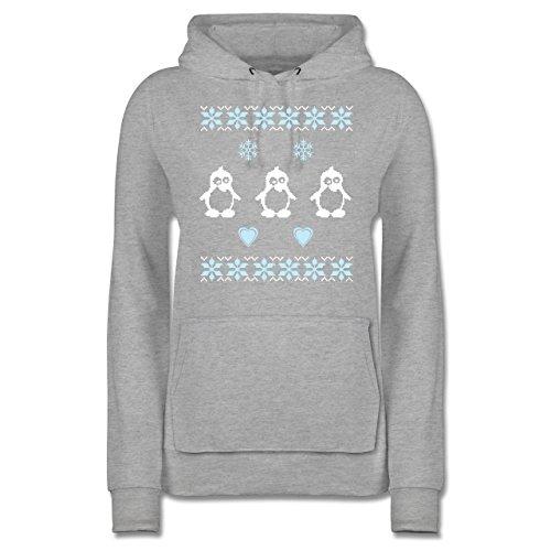 Weihnachten & Silvester - Norweger Pixel Pinguin - M - Grau meliert - JH001F - Damen Hoodie