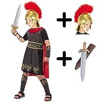 A2ZFD Boys Roman Soldier Centurion Gladiator Fancy Dress COSTUME + ROMAN HELMET (FABRIC) + SWORD - Size: 7 - 9 years