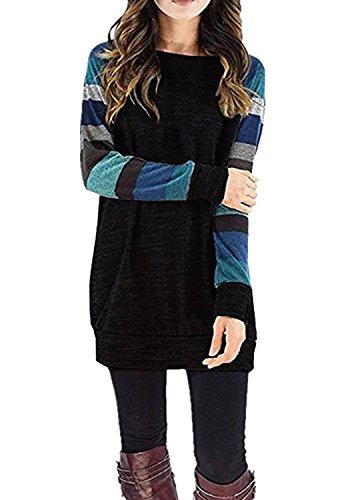 Damen Gestreift Pullover Langarm Rundhals T Shirt Herbst Pulli Strickpullover Tops Oberteile Langarmshirt (EU40-42/L, Schwarz + blau) (Langarm-t-shirt 69)