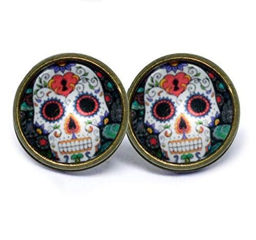 JUANLOWE Dia de Muertos Mexikanischer Sugar Skull Totenkopf Ohrstecker mit Cabochon Damen Ohrringe 14mm