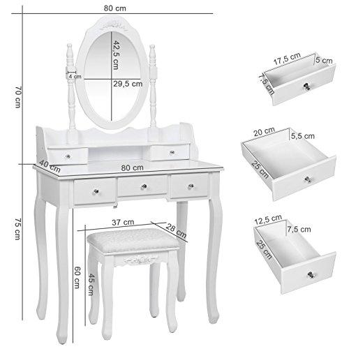 Songmics 5 Schubladen Schminktisch mit Spiegel Hocker, inkl. 2 Stück Unterteiler, Kippsicherung, weiß 80 x 145 x 40 cm (B x H x T) RDT15W - 6