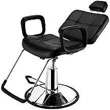 Anaelle Pandamoto Fauteuil de Coiffeur Classic Hydraulique Inclinable Barber Reclinable 360°en PU Cuir avec Chrome Repos Pied pour Salon Professionnel et Maison, Taille: 90 x 60 x 98-110cm, Poids: 27kg, Noir