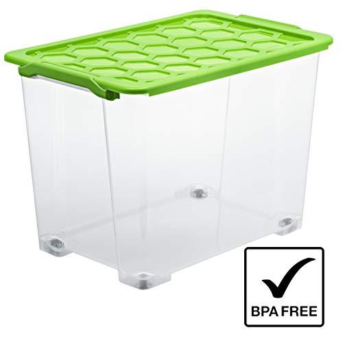 Rotho Evo Safe Keeping Aufbewahrungsbox mit Deckel und Rollen 65 l, Kunststoff (PP), transparent/grün, 65 Liter (59 x 39,5 x 41,2 cm)