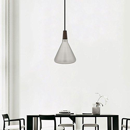 Diolumia - Suspension Conique en Métal Lisse - Style Industriel - Douille E27 Max.60W - Eclairage de plafond - Lampe suspendue Restaurant, salle à manger, - Câble ajustable - Argenté