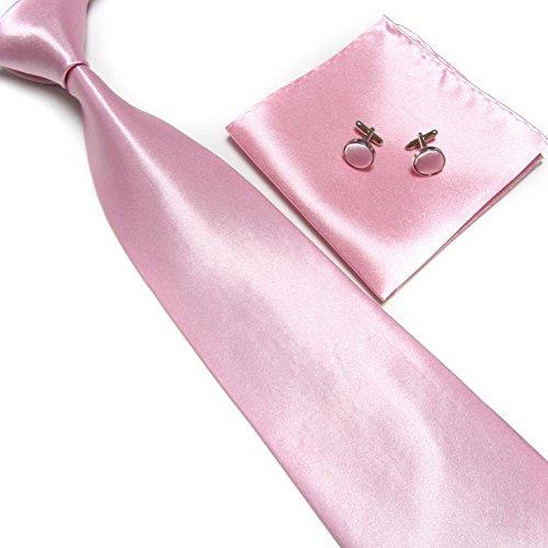 cravate-pochette-bouton-de-manchettes-satinee-rose-clair-neuf