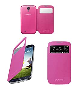 Canvas Premium Leather Flip Cover Case For Samsung Galaxy S4 I9500 PinK