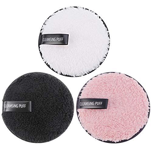Lurrose Almohadillas desmaquillantes desmaquilladoras reutilizables de felpa Faciales lavables para el cuidado de la piel y el cuidado 3pcs