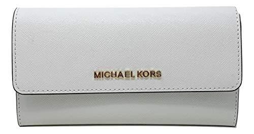 Michael Kors Jet Set Reise-Geldbörse, Leder, dreifach faltbar, groß - weiß - Einheitsgröße
