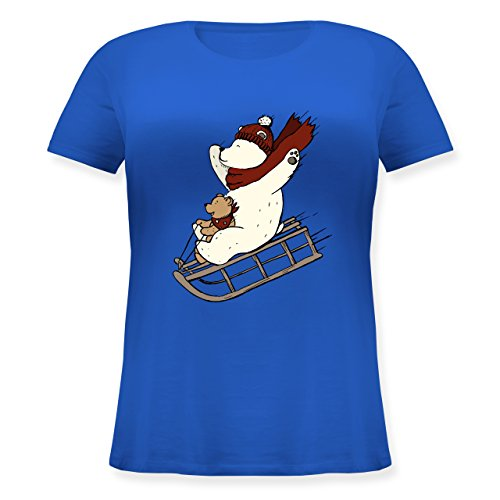 Weihnachten & Silvester - Bären fahren Schlitten - Lockeres Damen-Shirt in großen Größen mit Rundhalsausschnitt Blau