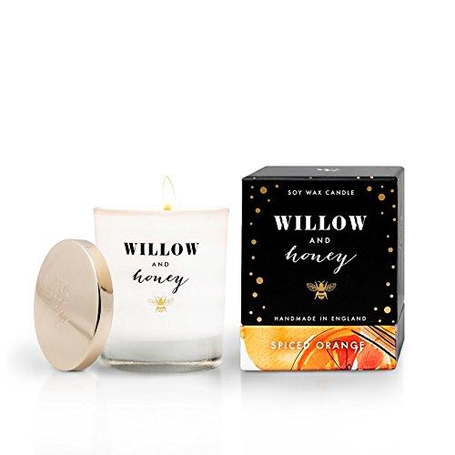 Weiden- und Honig Spiced Orange Holz Docht Kerze aus Soja, Glas/Wachs, weiß, 8x 8x 9,4cm -