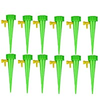 Ohwens 12Pcs Plant Self Watering Spike Adjustable Automatic Drip Irrigation System Vacation Plant Waterer Self Drip Irrigation with Slow Release Plant Water Funnel Automatically Watering Tools
