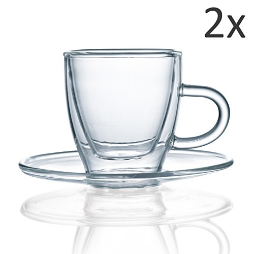 Green Spirit Premium Espresso Tassen Set 4-TLG. Glas doppelwandig Mokka Espressotasse Untertasse Füllmenge 80ml Green Espresso-tasse