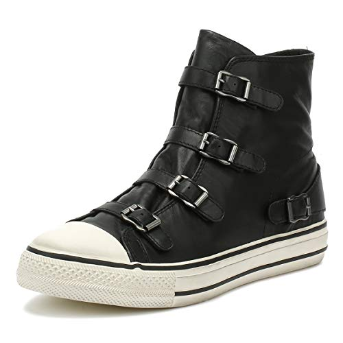Ash Footwear Virgin Black Leather Buckle Trainer 39EU/6UK Black
