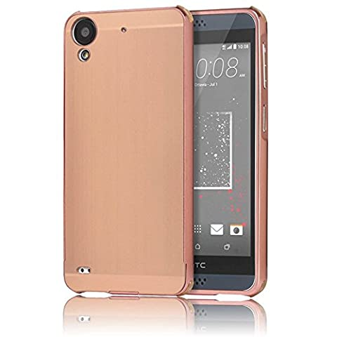 HTC Desire 530 Case, Sunroyal Ultra Slim Premium Detachable PC Acrylic Aluminium Mirror Metal Bumper Hard Skin Back and Edge Protective Absorption Anti-Scratch Hard Case Cover - Pink