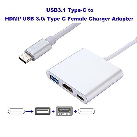 USB 3.1 Typ C zu USB 3.0 / HDMI / Typ C (PD) Weiblich Muiltifunctional Nabe Adapter für neues Apple Macbook Pro, Google Chromebook Pixel usw