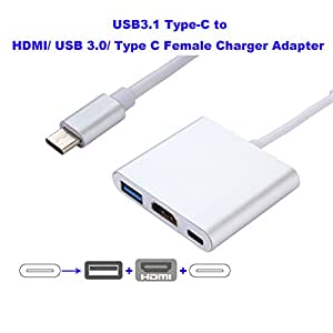 USB C to HDMI Adapter, USB 3.1 Type C to HDMI/ USB 3.0/ Type C Female Charger Adapter for Apple New MacBook Pro, Google Chromebook Pixel and other Devices with Type C Port, Silver