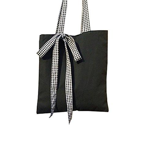 Daliuing Klassischen Tragetaschen Schleife Naht Canvas Schultertasche Beach Quadratisch Paket magnetisch Schnalle Handtaschen für Outdoor, Schwarz, 34 * 38cm (Personalisierte Bulk Tragetaschen)