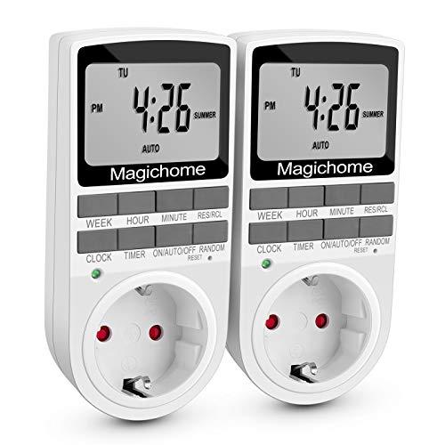 Magichome Temporizador Digital Programable, Enchufe Programador con Pantalla LCD 12/24 Horas, Diario/Semanal,...