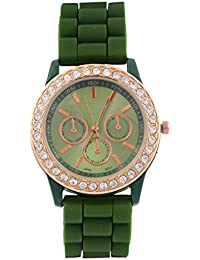 KMS Ring Diamond Women's Green Analog Watches