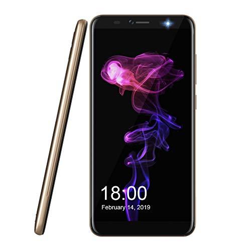 Smartphone ohne Vertrag 2018, Leagoo M9 Pro Dual SIM Mobiltelefon 4G LTE Handy 5,72 Zoll IPS Bildschirm Gesicht Fingerabdruck Sensor Dual-Rückfahrkameras 13MP + 2MP, Dual Flash LED, 3000 mAh Batterie Android 8.1 Günstiges Telefon, Gold